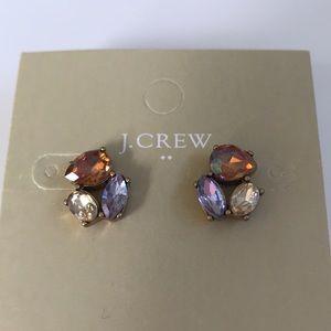 🔵 J. Crew Three Jewel Stud Earrings w/ Dust Bag